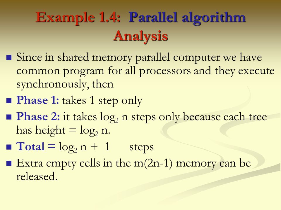 Example 1.4: Parallel algorithm Analysis
