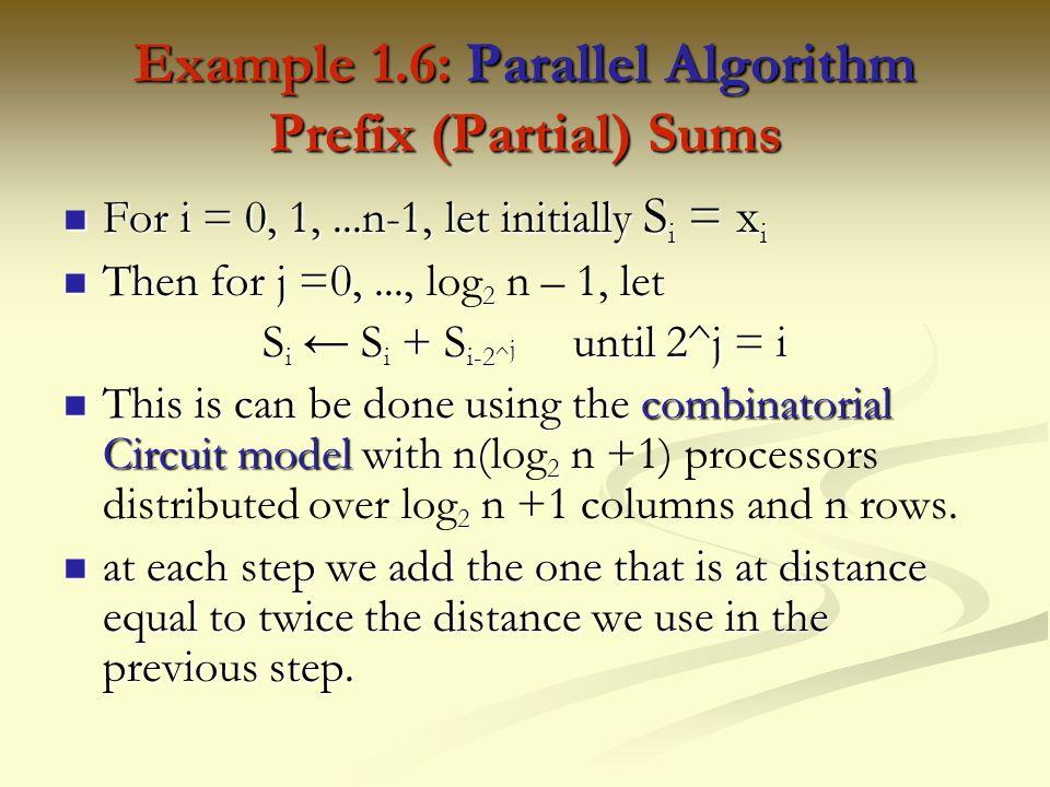 Example 1.6: Parallel Algorithm Prefix (Partial) Sums