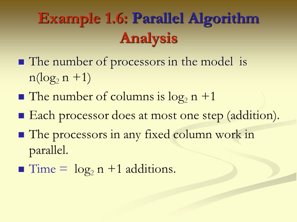 Example 1.6: Parallel Algorithm Analysis