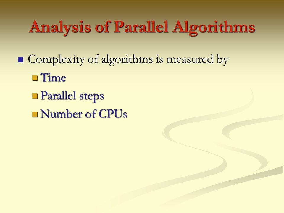 Analysis of Parallel Algorithms
