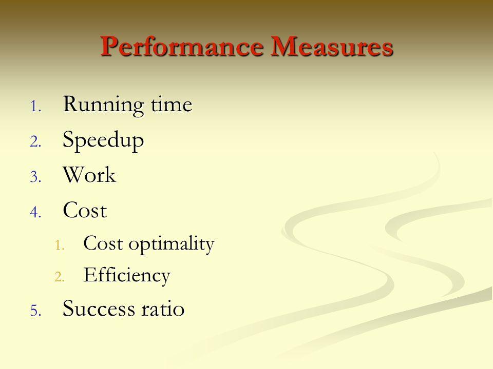 Performance Measures Running time Speedup Work Cost Success ratio