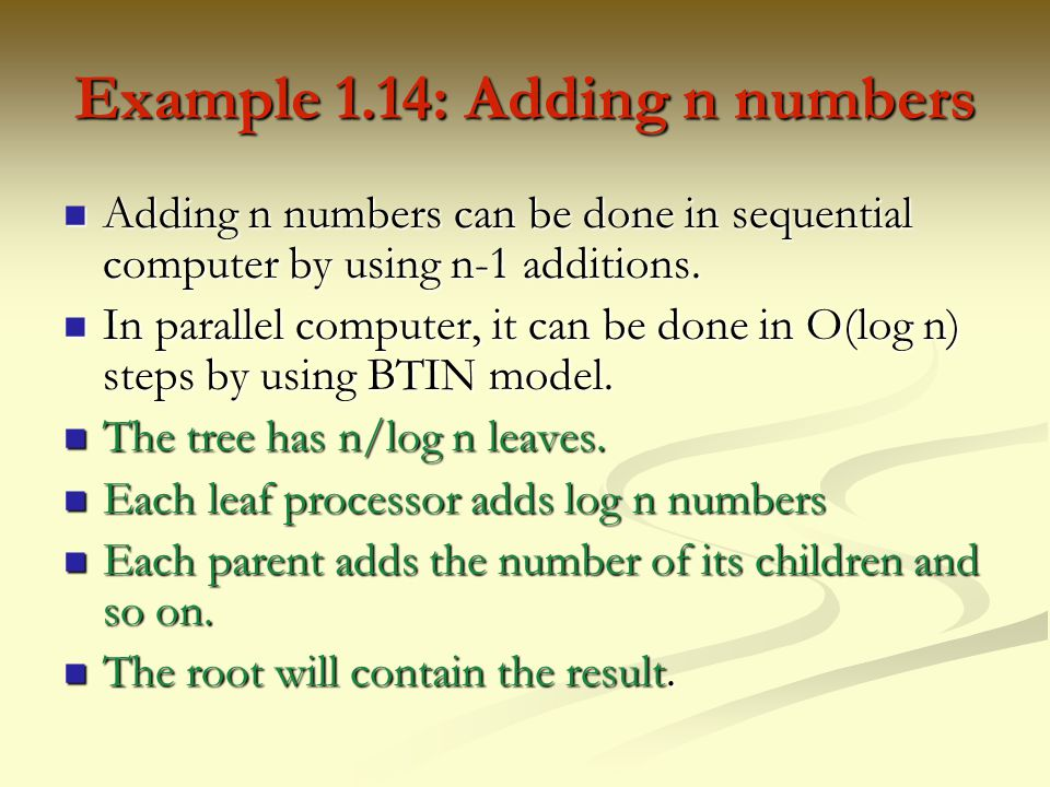Example 1.14: Adding n numbers