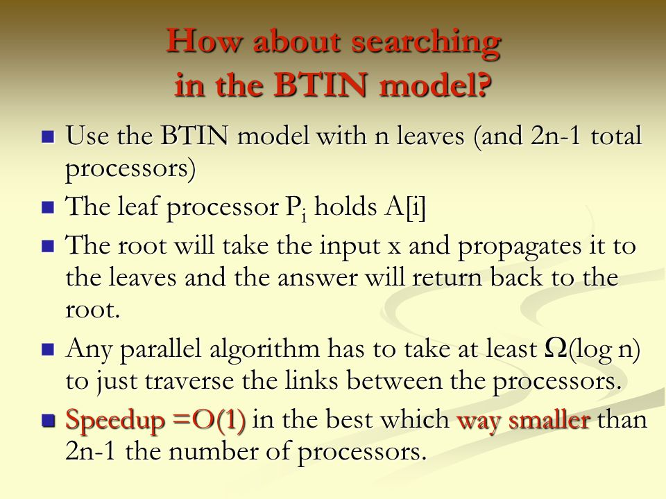 How about searching in the BTIN model