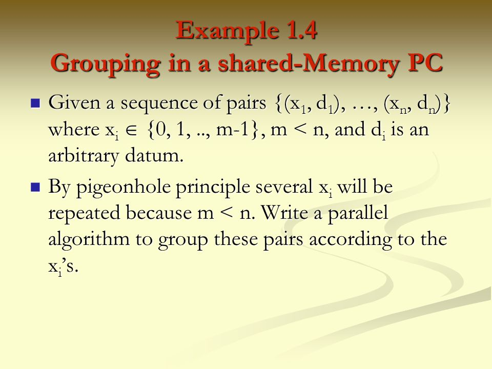 Example 1.4 Grouping in a shared-Memory PC
