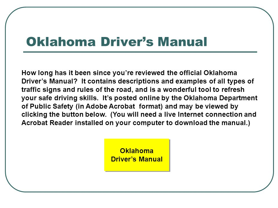 Oklahoma Driver's Manual