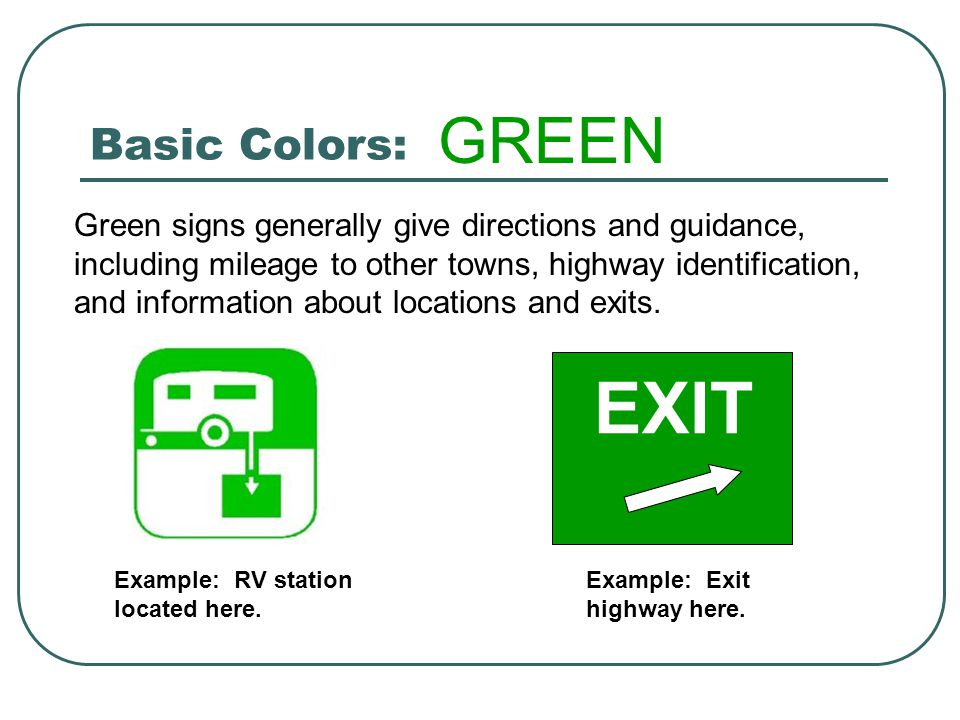 EXIT GREEN Basic Colors: