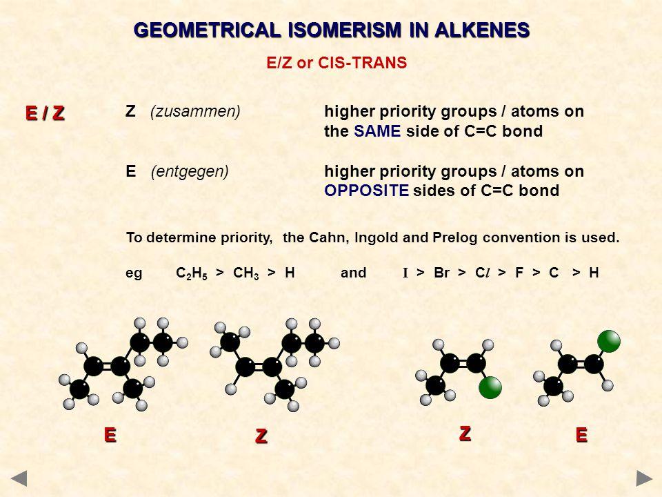GEOMETRICAL ISOMERISM IN ALKENES