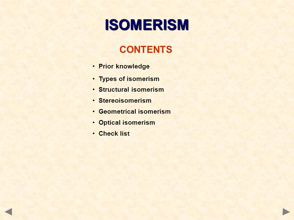 ISOMERISM CONTENTS Prior knowledge Types of isomerism