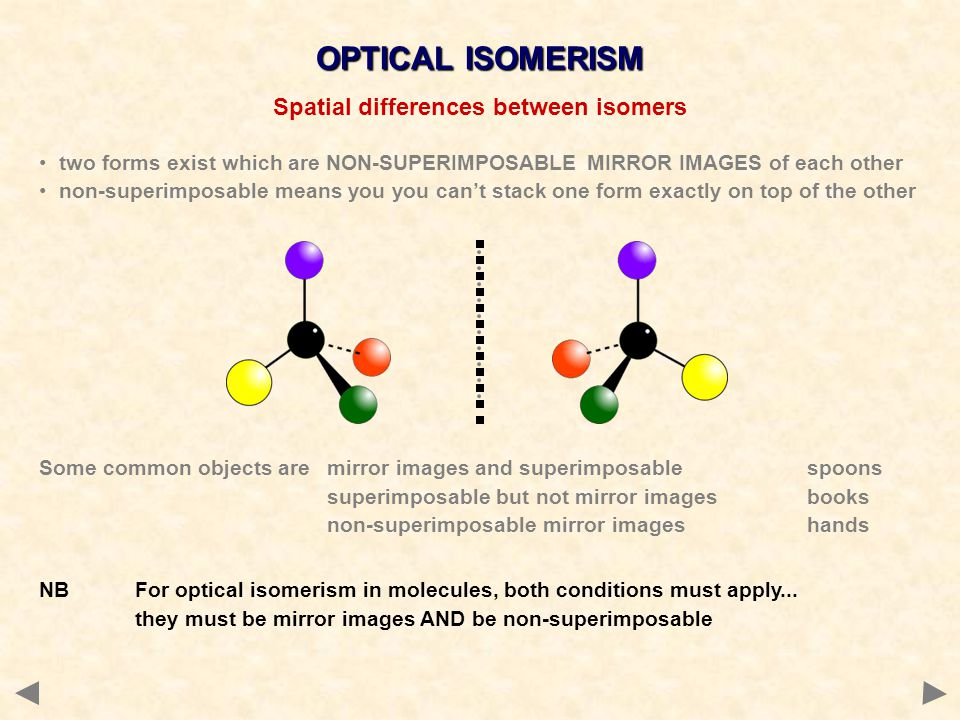 Spatial differences between isomers