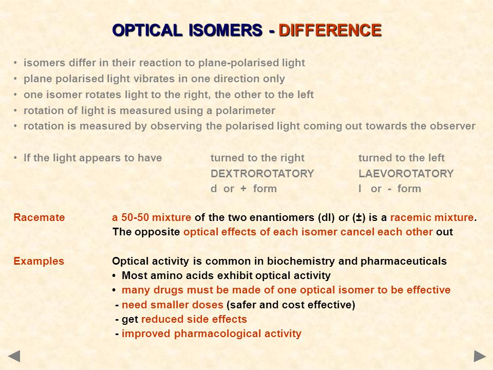 OPTICAL ISOMERS - DIFFERENCE