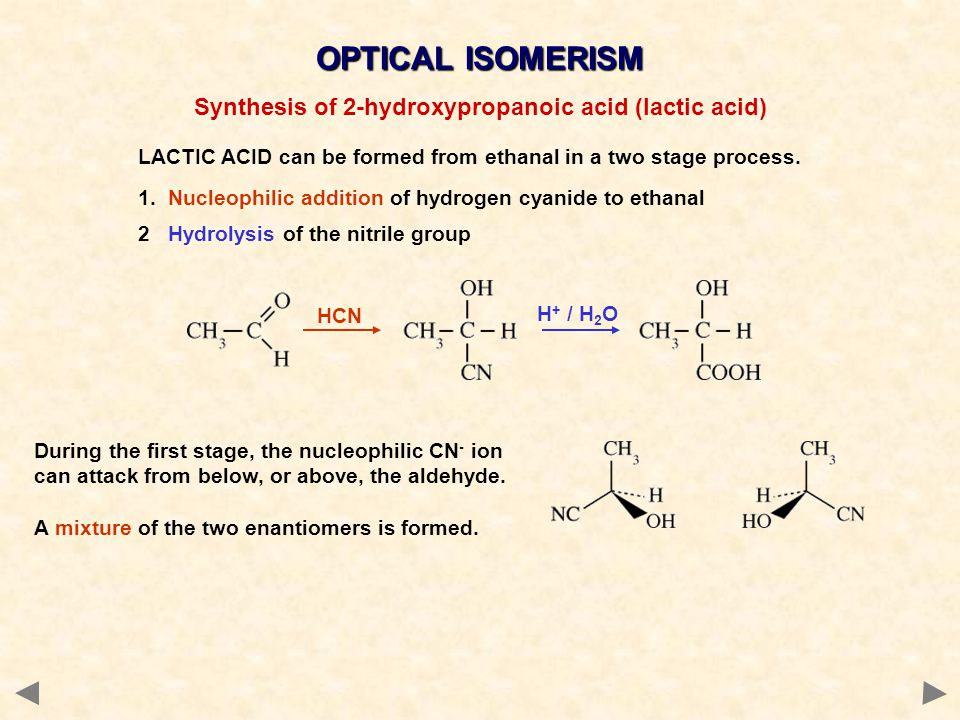 Synthesis of 2-hydroxypropanoic acid (lactic acid)