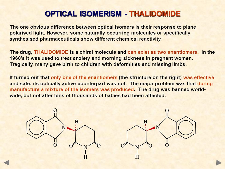 OPTICAL ISOMERISM - THALIDOMIDE