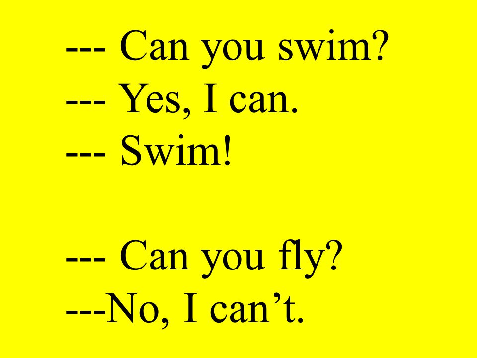 --- Can you swim --- Yes, I can. --- Swim! --- Can you fly ---No, I can't.