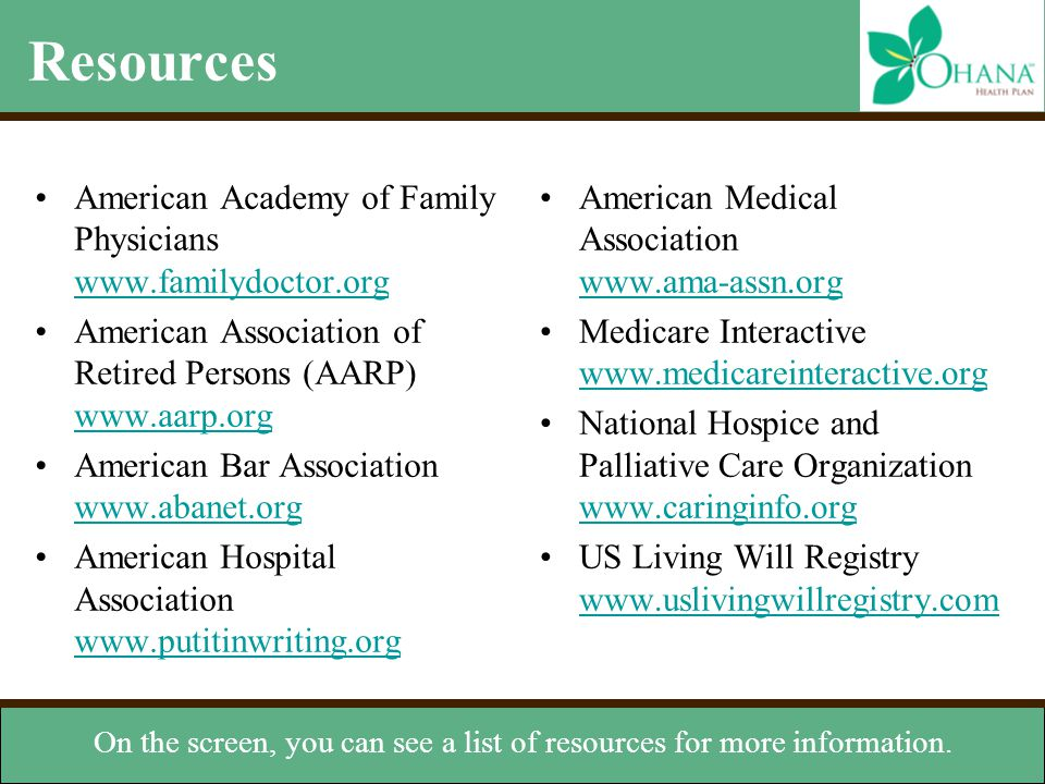 On the screen, you can see a list of resources for more information.