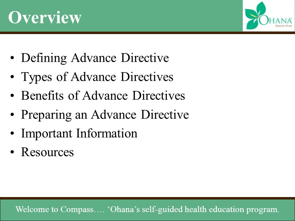 Welcome to Compass…. 'Ohana's self-guided health education program.