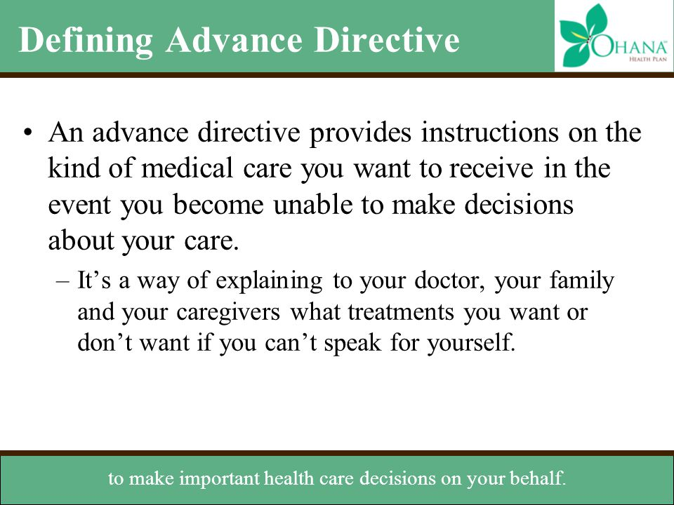 Defining Advance Directive