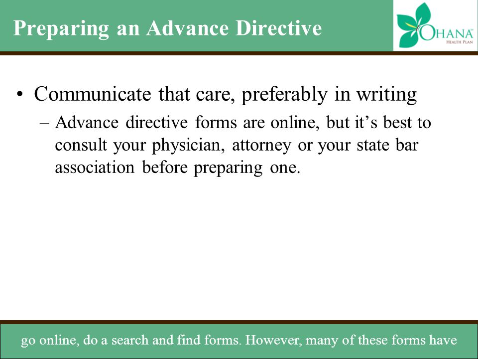 Preparing an Advance Directive