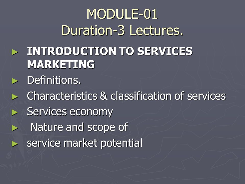 MODULE-01 Duration-3 Lectures.