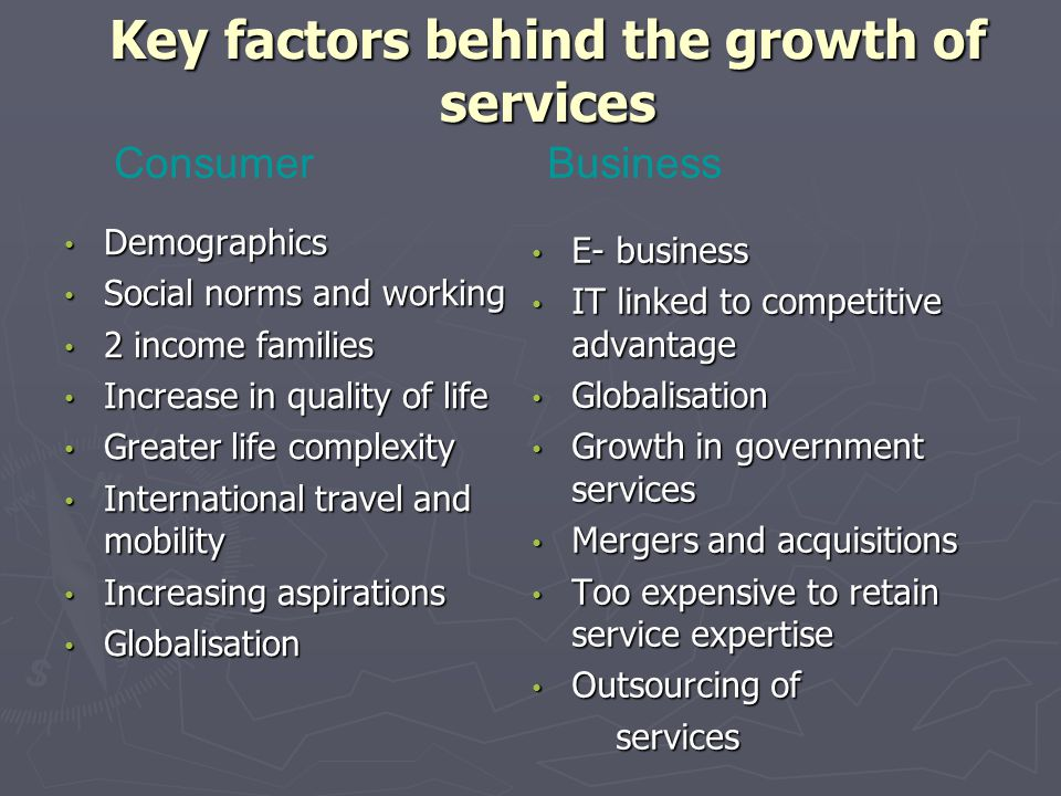 Key factors behind the growth of services
