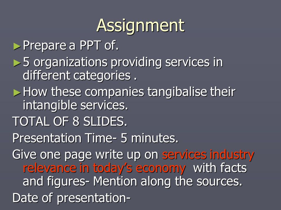 Assignment Prepare a PPT of.