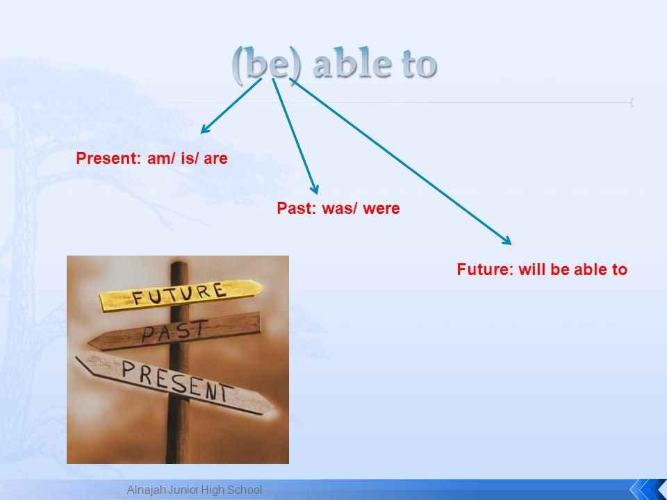 (be) able to Present: am/ is/ are Past: was/ were