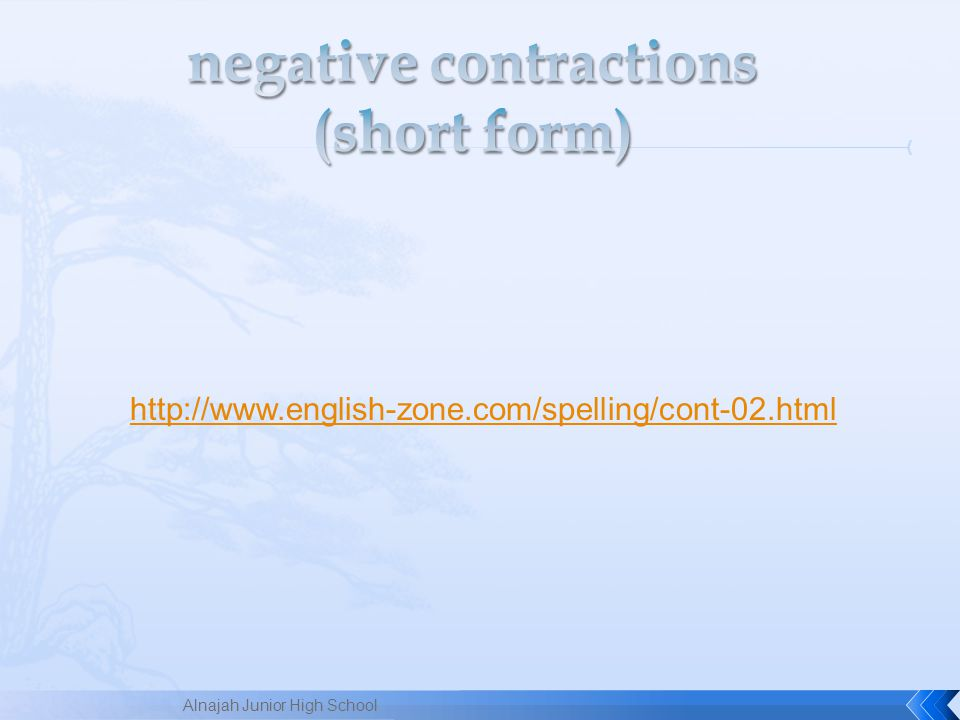 negative contractions (short form)