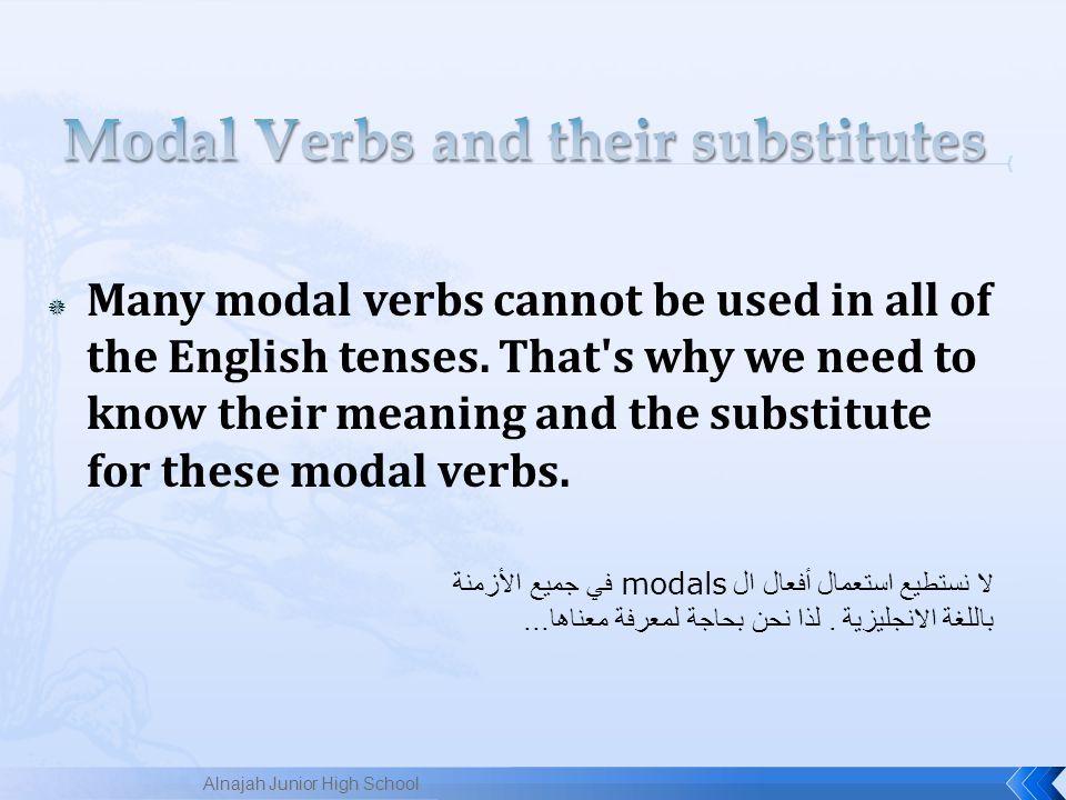 Modal Verbs and their substitutes