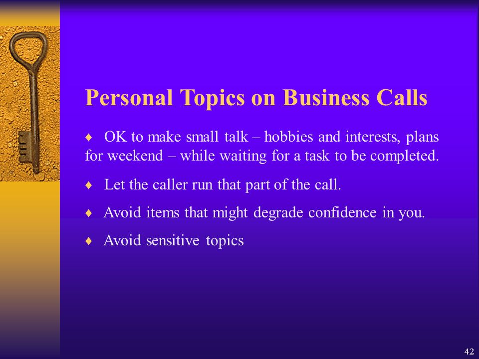 Personal Topics on Business Calls