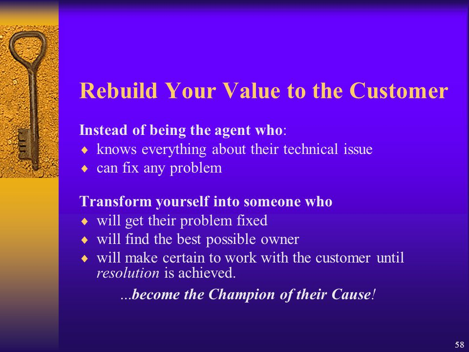 Rebuild Your Value to the Customer