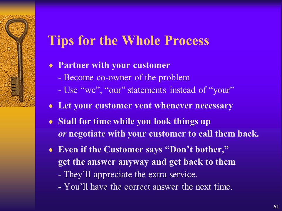 Tips for the Whole Process
