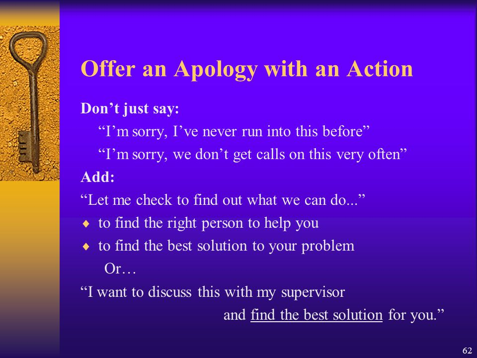 Offer an Apology with an Action