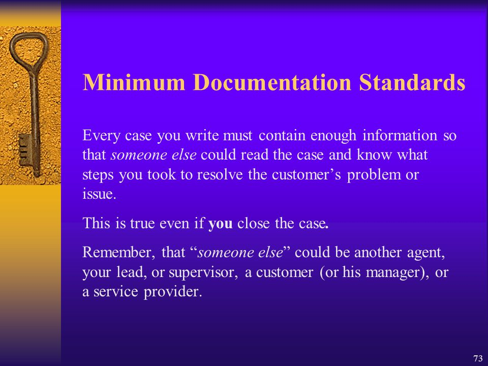 Minimum Documentation Standards