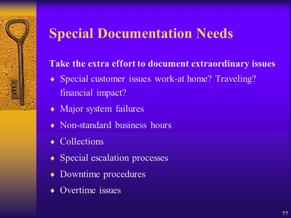 Special Documentation Needs