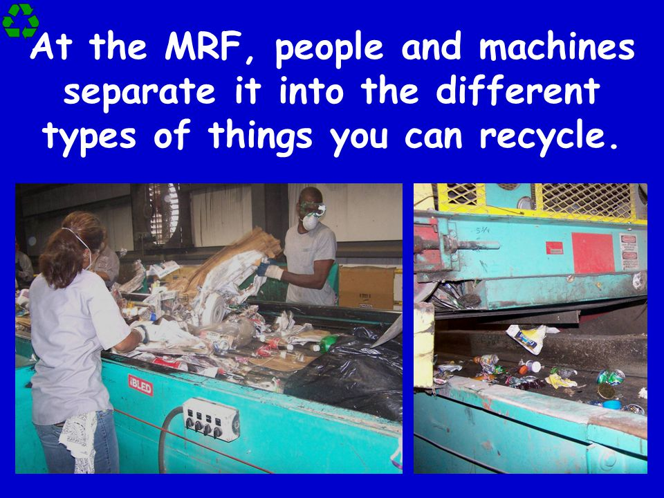 At the MRF, people and machines separate it into the different types of things you can recycle.