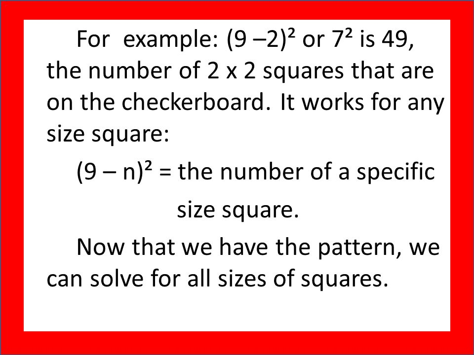 (9 – n)² = the number of a specific size square.