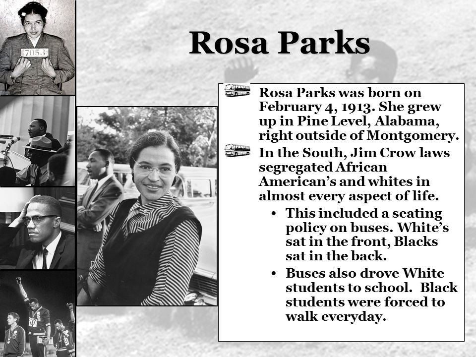 Rosa Parks Rosa Parks was born on February 4, 1913. She grew up in Pine Level, Alabama, right outside of Montgomery.