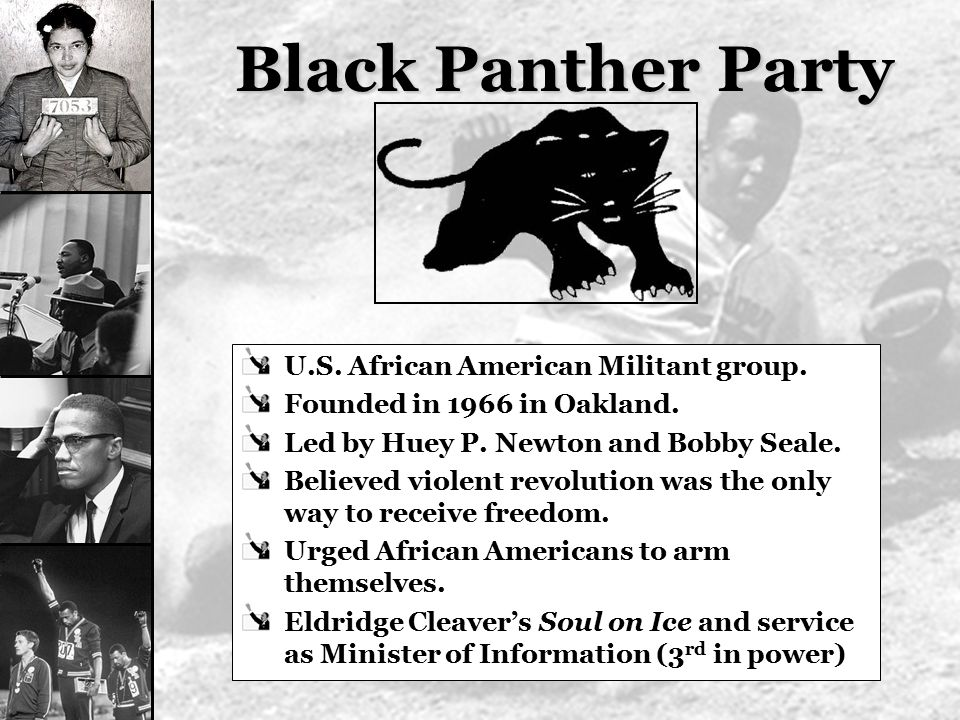 Black Panther Party U.S. African American Militant group.