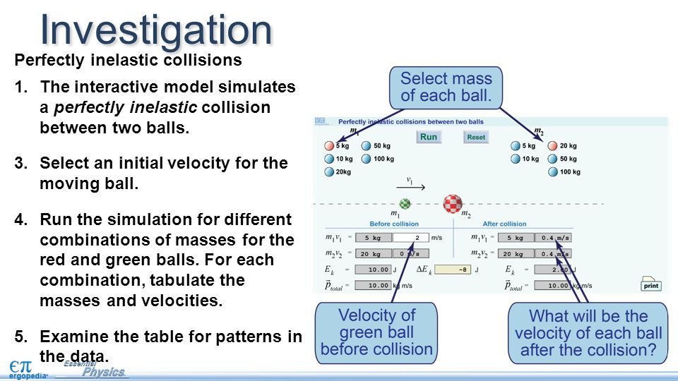 Investigation Perfectly inelastic collisions