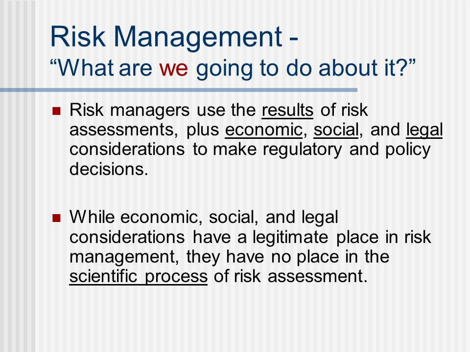Risk Management - What are we going to do about it