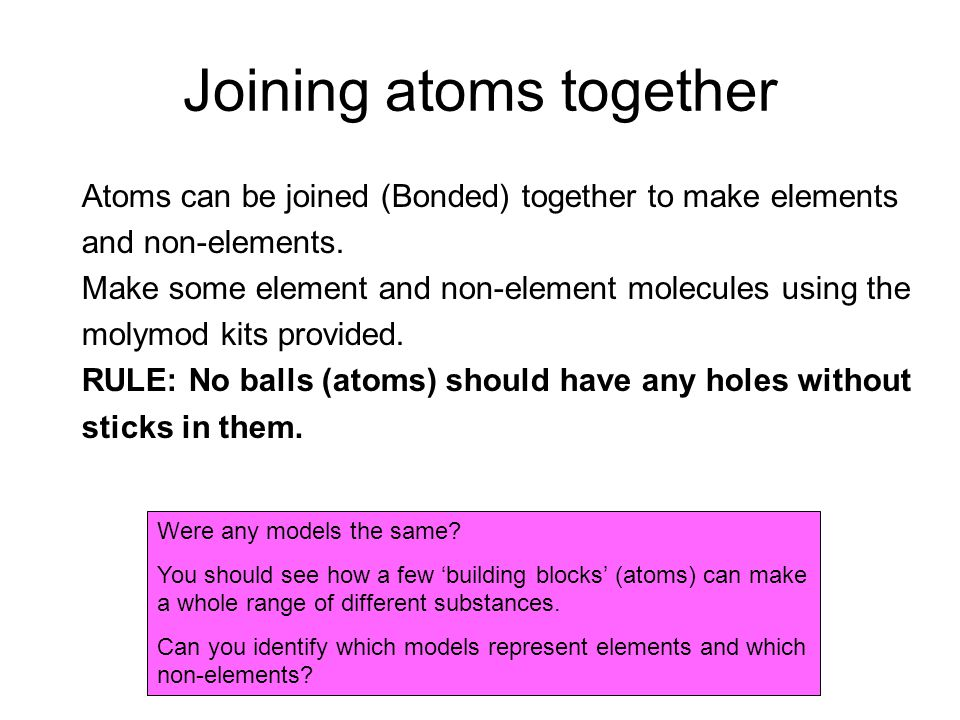 Joining atoms together