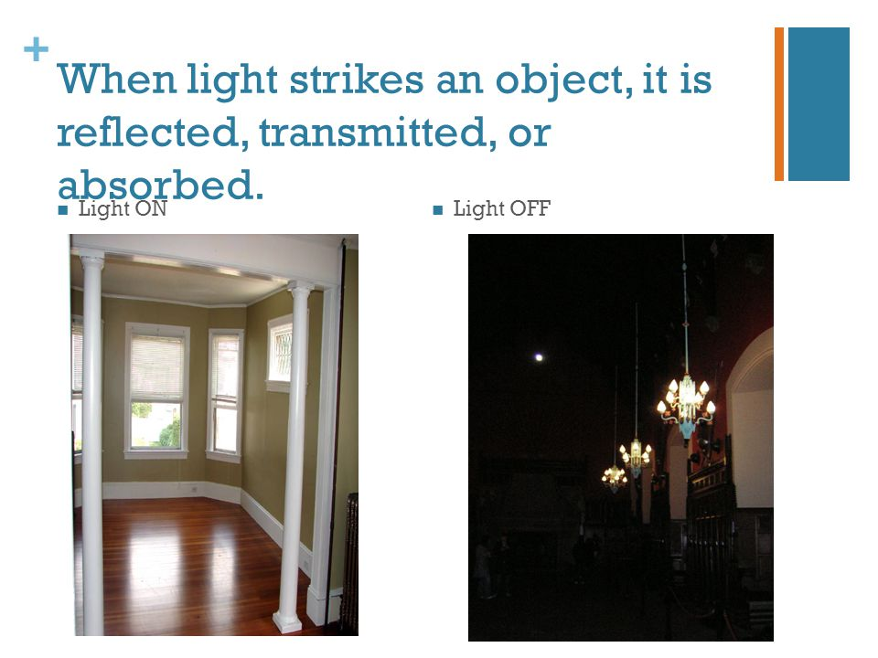 When light strikes an object, it is reflected, transmitted, or absorbed.