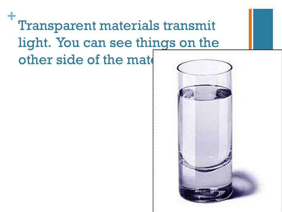 Transparent materials transmit light