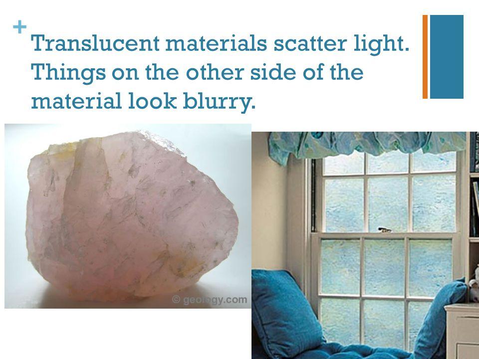 Translucent materials scatter light