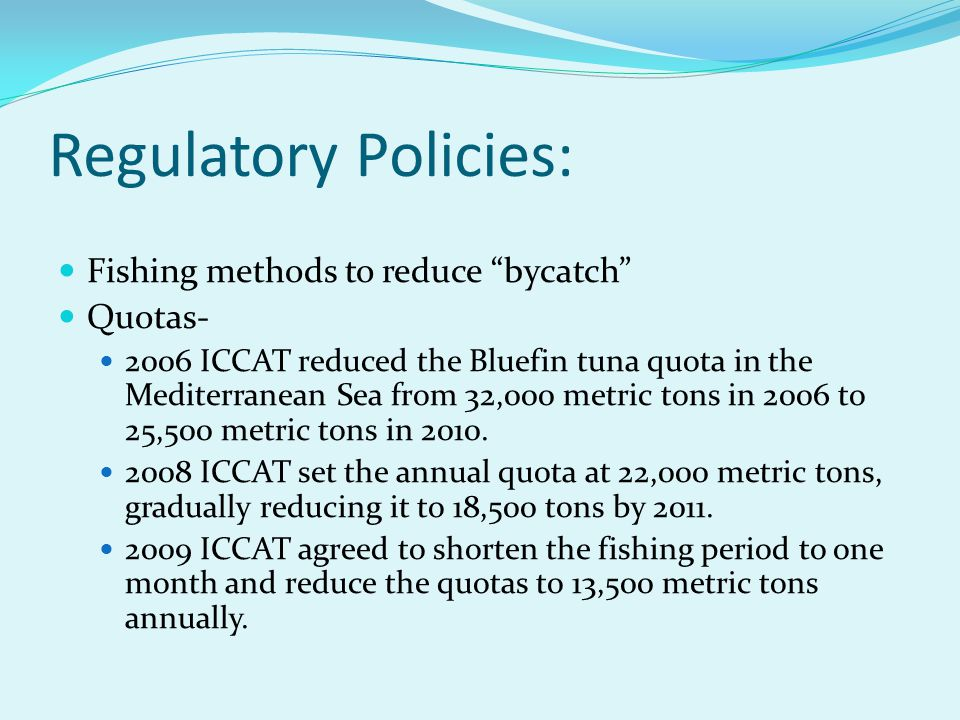 Regulatory Policies: Fishing methods to reduce bycatch Quotas-