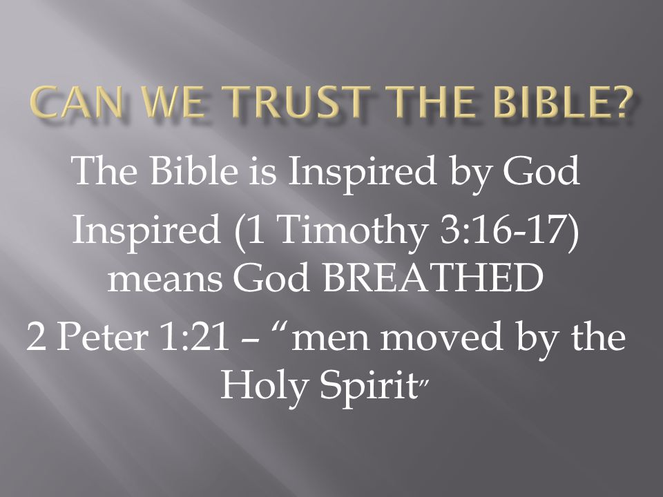 Can We Trust the Bible The Bible is Inspired by God