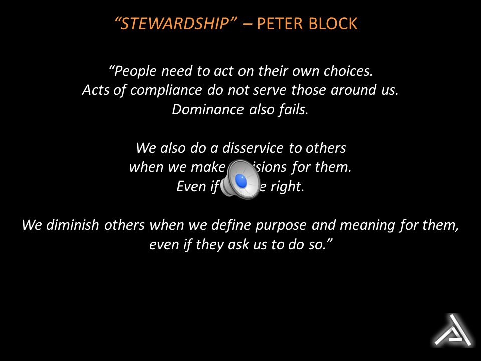 STEWARDSHIP – PETER BLOCK