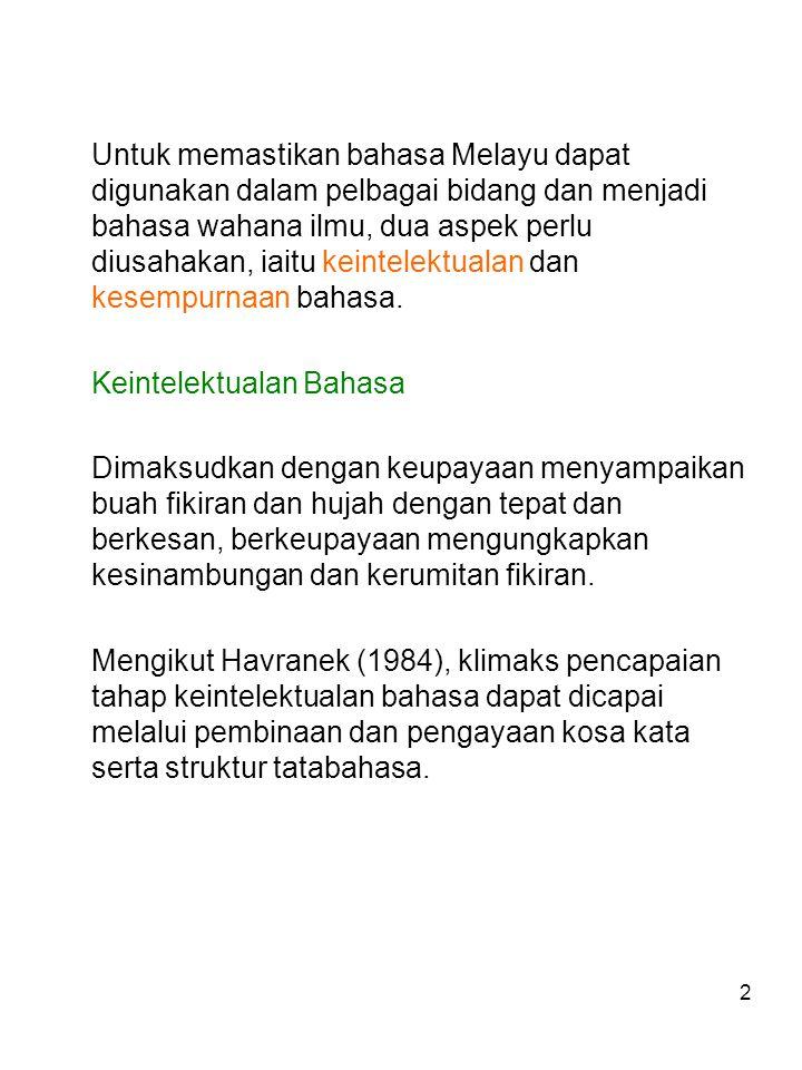 Untuk memastikan bahasa Melayu dapat digunakan dalam pelbagai bidang dan menjadi bahasa wahana ilmu, dua aspek perlu diusahakan, iaitu keintelektualan dan kesempurnaan bahasa.