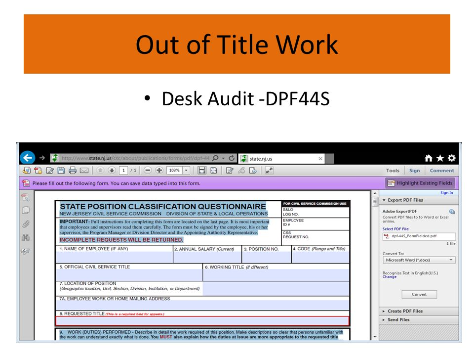Out of Title Work Desk Audit -DPF44S