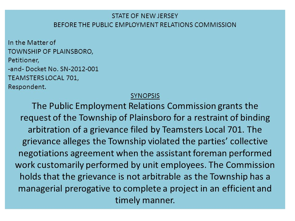 The Public Employment Relations Commission grants the