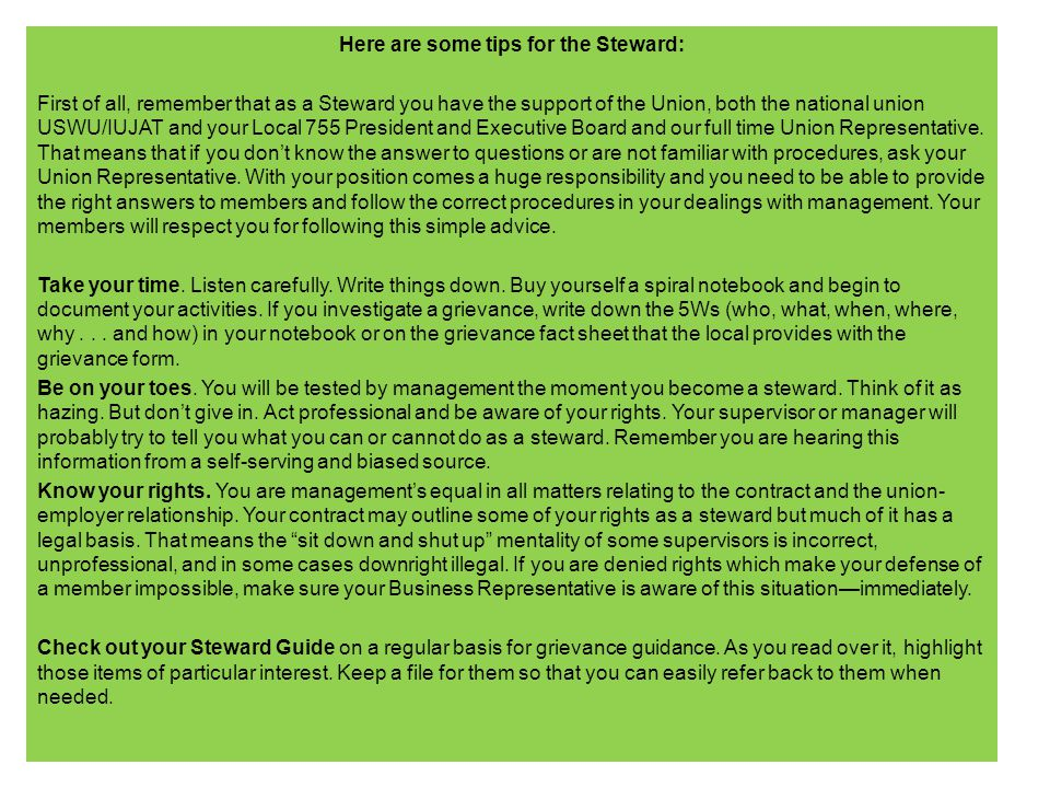 Here are some tips for the Steward: